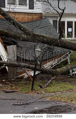 ANDOVER, NJ - OCT 30: A lamppost still standing in front of a tree laying across the front porch of a home after Hurricane Sandy made landfall in the US in Andover, New Jersey on October 30, 2012.