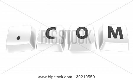 .com Written In Black On White Computer Keys. 3D Illustration. Isolated Background.