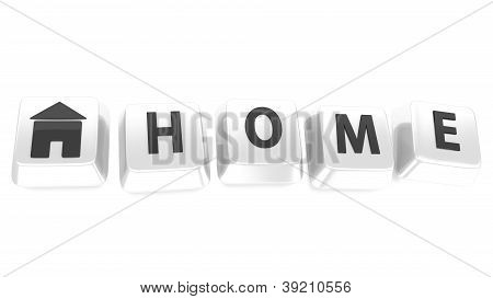 Home Written In Black On White Computer Keys With A House Icon. 3D Illustration. Isolated Background