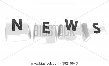 News Written In Black On White Computer Keys. 3D Illustration. Isolated Background.