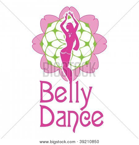 A symbol of belly dances is a silhouette of figure of girl carrying out dance on a background a  decorative pattern