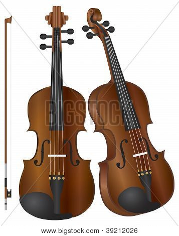 Violins With Bow Illustration