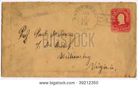USA - CIRCA 1907: Mailing envelope with postage stamps dedicated to G. Washington, circa 1907.
