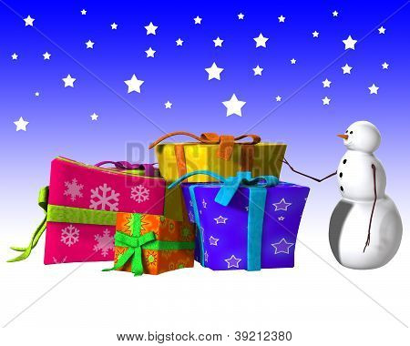 Snowman With Some Big Presents