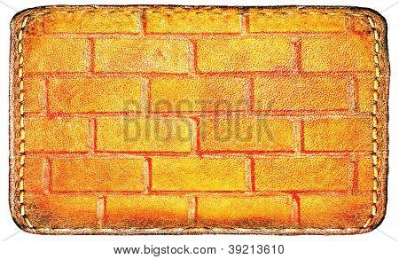 textured materials: clear surface of leather blank brown label closeup view, perspective and successful business concept of promotion products, and grungy red brick wall isolated over white background