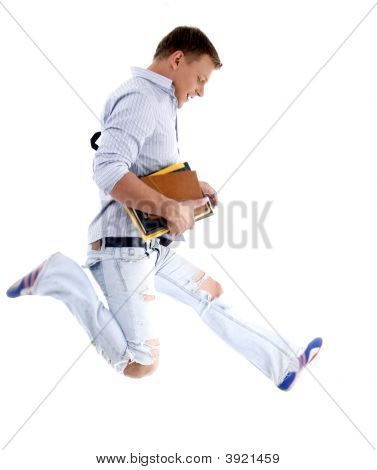 College Student Jumping High