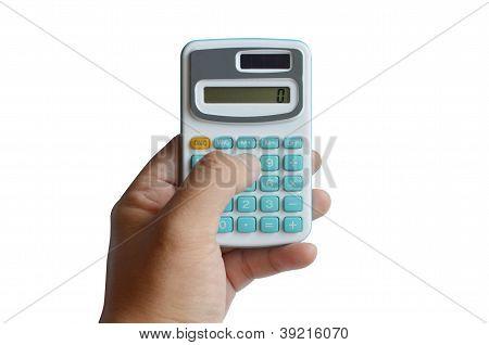 Geschäft Finanzrechner Maschine halten Mann hand