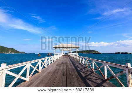 Wooden Walk Bridge To The Sea