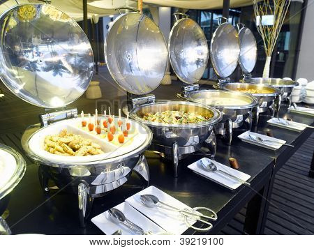 Buffet ready in an hotel