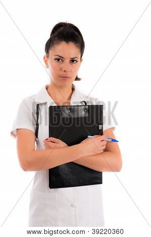 Woman Doctor Holding White File In Shis Hand, Isolated On White