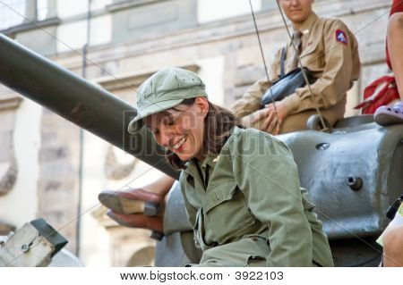 American Soldiers Beautiful Woman Tank Uniform