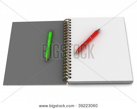 Notebook With Spiral And Two Pen