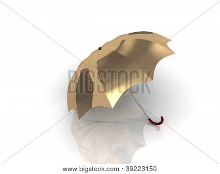 Golden Umbrella With Wooden Handle