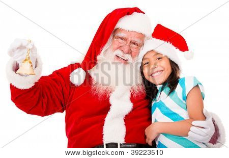 Happy Santa with a Christmassy girl - isolated over white background