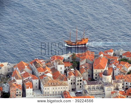 Galleon passing by the historic city of Dubrovnik