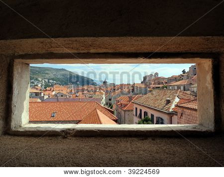 Peephole view of Dubrovnik