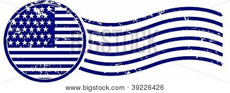 U.S. Flag Postage Cancellation Rubber Stamp