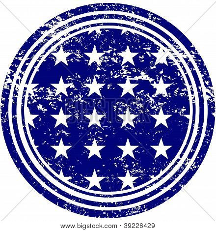 White Stars on Blue Field Rubber Stamp