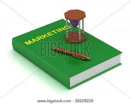 3D Illustration Sand Clock With Purple Sand, Book Marketing