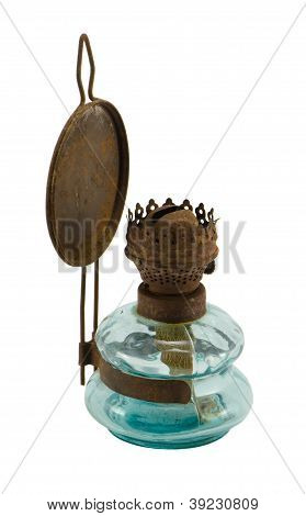 Rusty Retro Paraffin Lamp Isolated On White