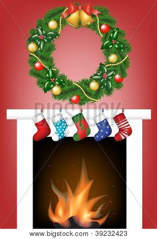 Fireplace, Socks And Garland