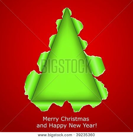 Abstract Christmas tree made �¢??�¢??of torn paper on red background. Vector eps10 illustration