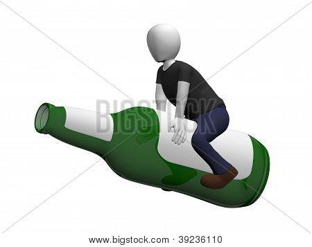 Man Ridding A Beer