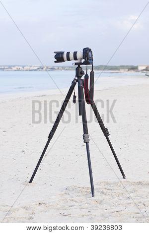 Digital Slr Camera On Tripod On Beach In Summer