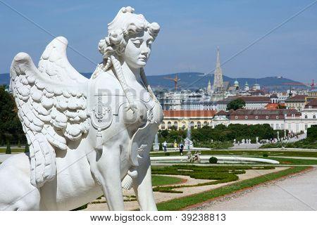 Sphinx Statue And Belvedere Garden In Vienna, Austria