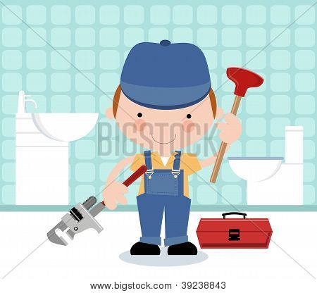 Plumber with Plumbing Tools