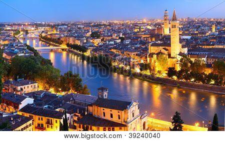 Night view of Verona city. Italy