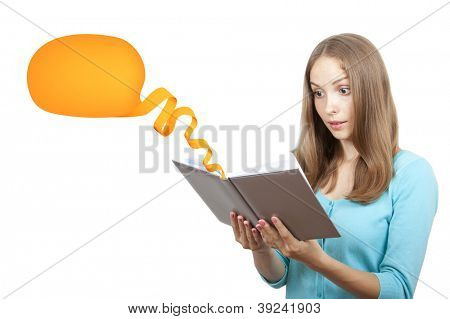 Young woman with book and ribbon