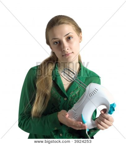 Young Woman With Electric Food Mixer
