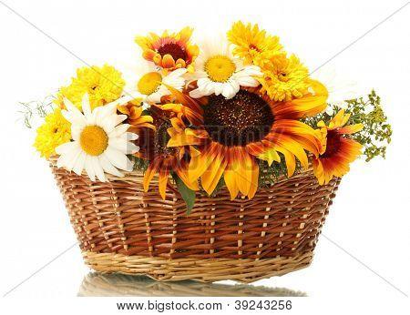 lindo buquê de flores silvestres brilhantes na cesta, isolado no branco