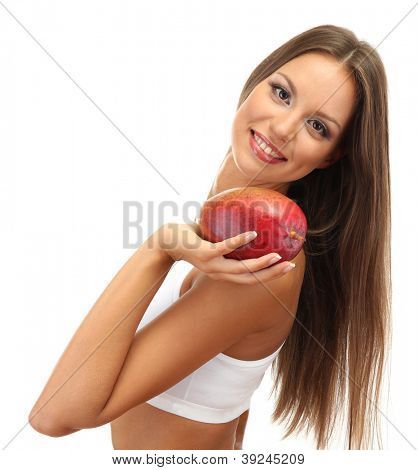 eautiful young woman with mango, isolated on white