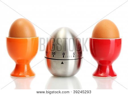 egg timer and egg in color stand isolated on white