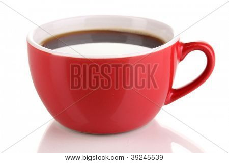 A red cup of strong coffee isolated on white