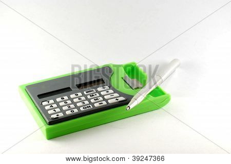Calculator With Silver Pen