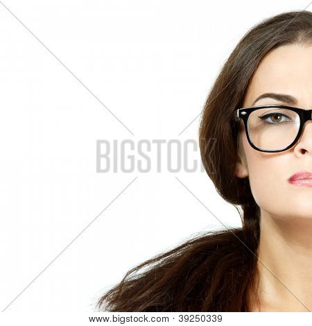 portrait of attractive caucasian woman with glasses, half face over on white, studio