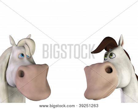 2 Horses Cartoon