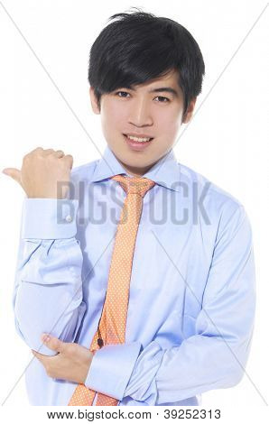 young businessman on white background, looking at you. Hand gesture