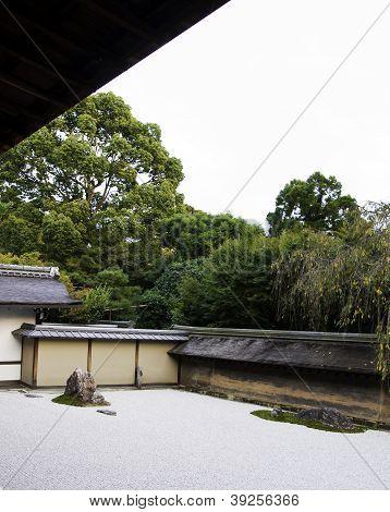 Ryoan-ji Temple,zen Garden In Kyoto, Japan.