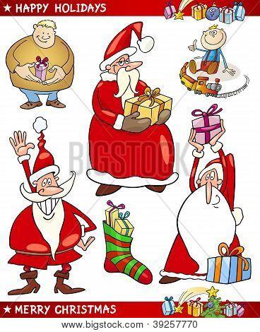Weihnachtsmann und Weihnachten Themen Cartoon Set