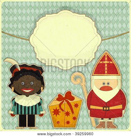 Christmas Card With Sinterklaas