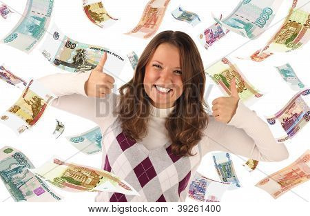 Successful Girl On Falling Roubles Background