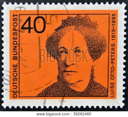 GERMANY - CIRCA 1974: a stamp printed in Germany shows Luise Otto-Peters writer and journalist circa