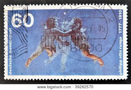 GERMANY - CIRCA 1977: A stamp printed in Germany shows Morning painting by Philipp Otto Runge circa