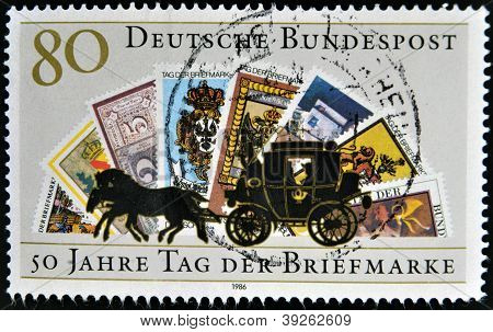 GERMANY - CIRCA 1986: A stamp printed in Germany dedicated to the 50th anniversary of the Day postag