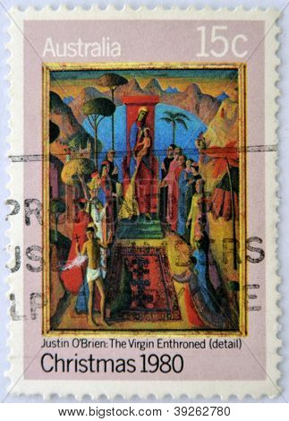 AUSTRALIA - CIRCA 1980: A stamp printed in Australia shows detail of draw Virgin Enthroned by Justin
