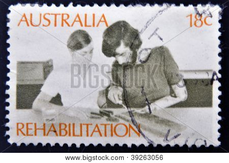 AUSTRALIA - CIRCA 1972: a stamp printed in Australia shows Amputee Assembling Electrical Circuit Reh
